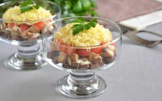 Салат с печенью сыром и грибами